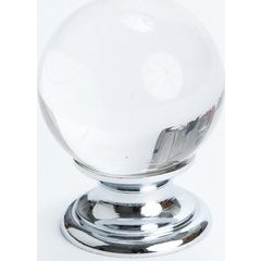 Europa 1-3/16 Inch Diameter Clear Crystal Ball/Chrome Cabinet Knob