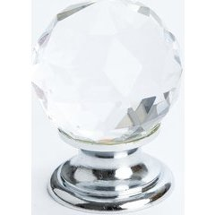 Europa 1-3/16 Inch Diameter Faceted Crystal Ball/Chrome Cabinet Knob