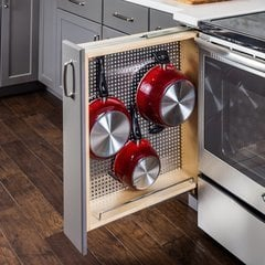 3 Inch Base Cabinet Filler with Stainless Steel Pegboard Organizer