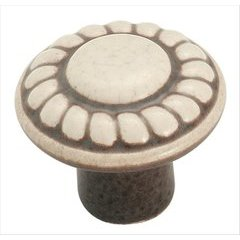 Colour Washed Ceramics 1-3/8 Inch Diameter Distressed Cream Cabinet Knob