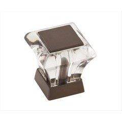 Abernathy 1 Inch Diameter Acrylic/Caramel Bronze Cabinet Knob