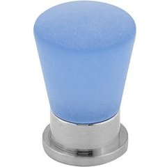 Contemporary 0.748 Inch Diameter Knobs with Blue Frosted Nickel Finish <small>(#BP34119578)</small>