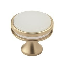 Oberon Knob 1-3/8 inch Diameter Golden Champagne/Frosted Acrylic