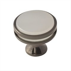 Oberon 1-3/8 Inch Diameter Gunmetal/Frosted Acrylic Cabinet Knob