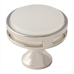 Oberon 1-3/8 Inch Diameter Polished Nickel/Frosted Acrylic Cabinet Knob