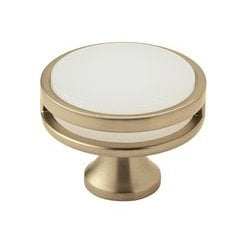 Oberon Knob 1-3/4 inch Diameter Golden Champagne/Frosted Acrylic <small>(#BP36609BBZFA)</small>