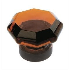 Traditional Classics 1 Inch Diameter Amber Glass/Oil Rubbed Bronze Cabinet Knob