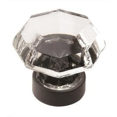 Traditional Classics 1-1/4 Inch Diameter Crystal/Black Bronze Cabinet Knob
