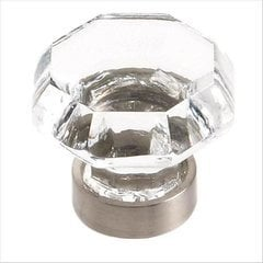 Traditional Classics 1-1/4 Inch Diameter Clear Glass/Satin Nickel Cabinet Knob