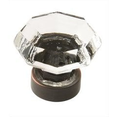 Traditional Classics 1-1/4 Inch Diameter Crystal/Oil Rubbed Bronze Cabinet Knob