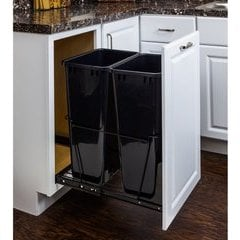 50 Quart Double Pullout Waste Container System - Black