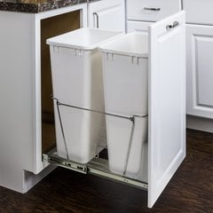 50 Quart Double Pullout Waste Container System - Polished Chrome