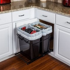 35 Quart Double Pullout Waste Container System - Black