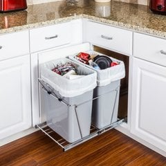 35 Quart Double Pullout Waste Container System - Chrome