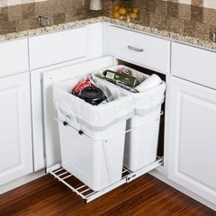 35 Quart Double Pullout Waste Container System - White