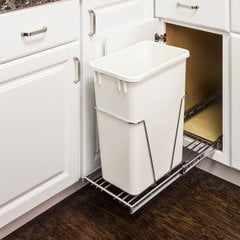 35 or 50 Quart Single Pullout Waste Container System - Chrome