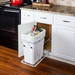 35 or 50 Quart Single Pullout Waste Container System - White