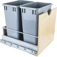 Preassembled 35 Quart Metal Drawer Box Double Pullout Waste Container - Grey