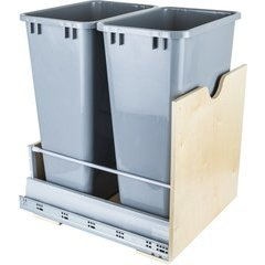 Preassembled 50 Quart Metal Drawer Box Double Pullout Waste Container - Grey