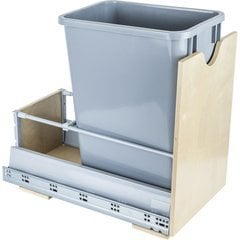 Preassembled 35 Quart Metal Drawer Box Single Pullout Waste Container - Grey