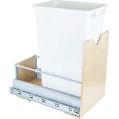 Preassembled 50 Quart Metal Drawer Box Single Pullout Waste Container - White