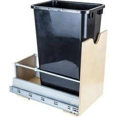 Preassembled 50 Quart Metal Drawer Box Single Pullout Waste Container - Black