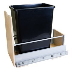 Preassembled 35 Quart Metal Drawer Box Single Pullout Waste Container - Black