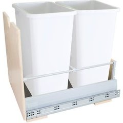 Preassembled 35 Quart Metal Drawer Box Double Pullout Waste Container - White