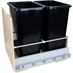 Preassembled 35 Quart Metal Drawer Box Double Pullout Waste Container - Black