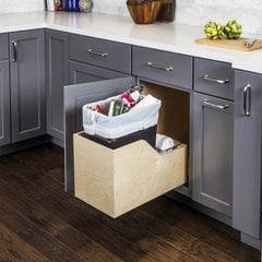 Preassembled 35 Quart Plywood Dovetail Single Pullout Waste Container - Black