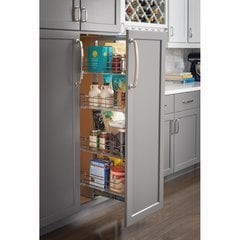 12 Inch x 74 Inch Wire Pantry Pullout with Heavy Duty Soft Close - Chrome