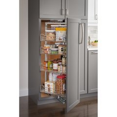 15 Inch Wide x 74 Inch High Wire Pantry Pullout with Swingout Feature - Chrome
