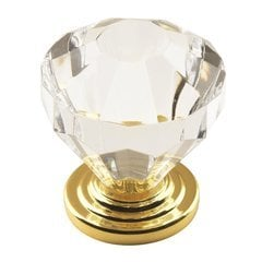 Traditional Classics 1-1/4 Inch Diameter Acrylic/Burnished Brass Cabinet Knob