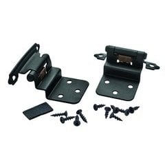 3/8 Inch Inset Hinge 1-1/16 Inch Projection - Flat Black - Pair