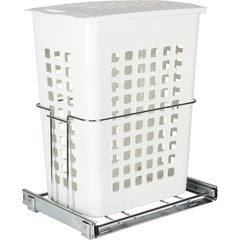 Plastic Pullout Hamper with Lid - Chrome