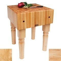 18 Inch x 18 Inch x 10 Inch AB Butcher Block with Casters - Maple