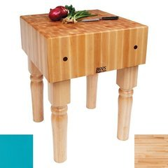 24 Inch x 18 Inch x 10 Inch AB Butcher Block, Caribbean Blue Base with Casters - Maple