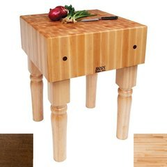 24 Inch x 24 Inch x 10 Inch AB Butcher Block, Walnut Stain Base with Casters - Maple
