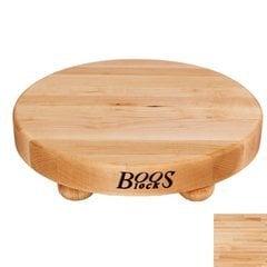 12 Inch Diameter Round Cutting Board with Bun Feet - Maple