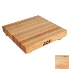 9 Inch x 9 Inch x 1-1/2 Inch Square Cutting Board with Bun Feet - Maple