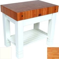 36 Inch x 24 Inch x 5 Inch Work Table Homestead Butcher Block with Alabaster Base Color - Cherry Top