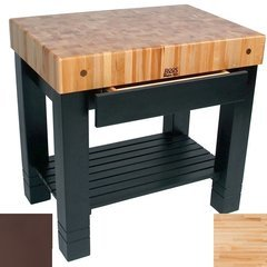 36 Inch x 24 Inch x 5 Inch Homestead Butcher Block with French Roast Base Color - Maple Top