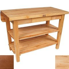 60 Inch x 32 Inch x 1-3/4 Inch Kitchen Island with Drop Leaf and Cherry Stain Base Color - Maple Top