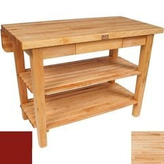 60 Inch x 38 Inch x 1-3/4 Inch Kitchen Island with Drop Leaf and Barn Red Base Color - Maple Top