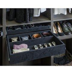 5 Compartment Felt Jewelry Organizer Drawer Kit - Black