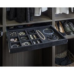 10 Compartment Felt Jewelry Organizer with Ring Insert - Black