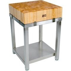 24 Inch x 24 Inch x 29 Inch Cucina Laforza Butcher Block Cart with Casters - Stainless Steel