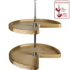 24 Inch Diameter Kidney Wood Lazy Susan Set with Twist and Lock Pole