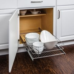 17-3/8 Inch Pullout Basket for 18 Inch Cabinet Opening - Polished Chrome