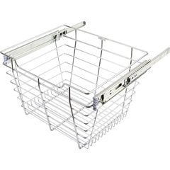 14 Inch D x 17 Inch W x 11 Inch H Closet Pullout Basket - Polished Chrome